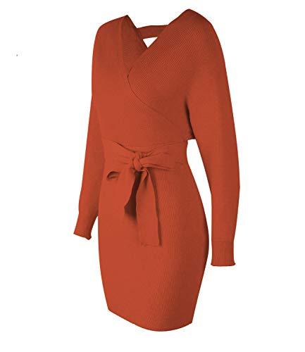 Cocktail Orange Batwing Sexy Sleeve Women's Sweater Backless Long Knit Mini Mansy Wrap Mock Dress xZBwHEqnF