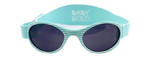 Shiny Black Stripe - Baby Solo | Baby Sunglasses (Shiny Aqua Stripes Frame w/Solid Black Lens)