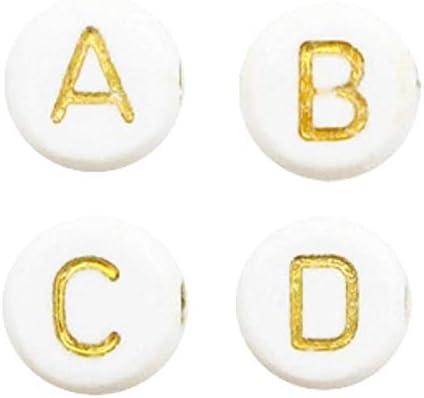 Cheriswelry Lot de 1000 perles en acrylique blanc de lalphabet de 7 mm avec disque rond et plat en or avec lettre A-Z pour la fabrication de bijoux et de bracelets
