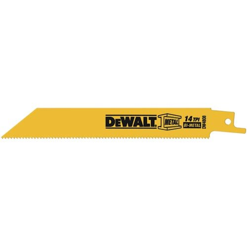 Straight Back Reciprocating Blade - DEWALT DW4808B 6-Inch 14-TPI Straight Back Bi-Metal Reciprocating Saw Blade (100-Pack)