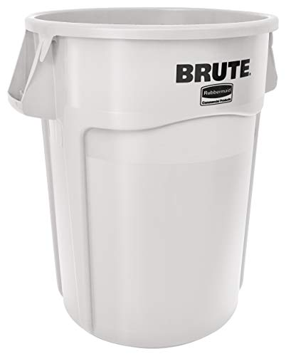 Rubbermaid Commercial Products FG265500WHT BRUTE Heavy-Duty Round Trash/Garbage Can, 55-Gallon, White