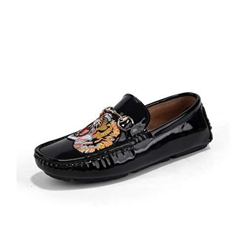Black Moda De Pisos Mocasín Slip Mocasines Ocasionales Zapato A Cuero Hombre Transpirable Para Conducción Zapatos Hecho Mano 1YRPwqa