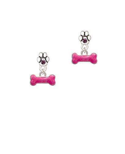(Hot Pink Glitter Dog Bone - Purple Crystal Paw Earrings)