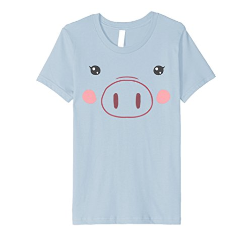 Kids Pig Face T-Shirt | Funny Cute Animal Halloween Costume 4 Baby Blue