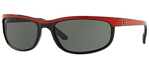 Ray-Ban Men's Predator 2 Rectangular Sunglasses, Top Red on Black, 62 - Ray Rectangular Ban Sunglasses