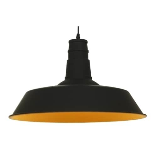 Light Society Stafford Large Pendant Light, Matte Black Shade with Gold Interior, Vintage Modern Industrial Farmhouse Lighting Fixture (LS-C168-BLK) (Pendant Large Metal Light)