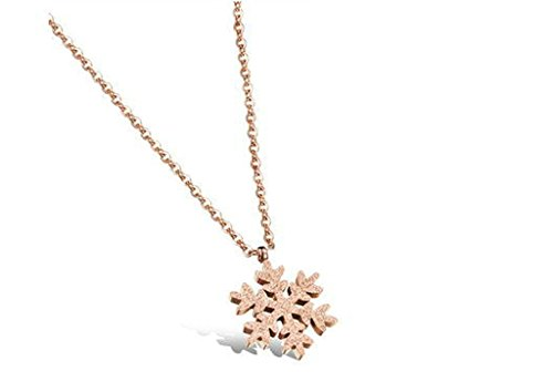 Aooaz Jewelry 18K White Gold Plated CZ Inlaid Snowflake Necklace for Women Rose Gold (Roman Godess)