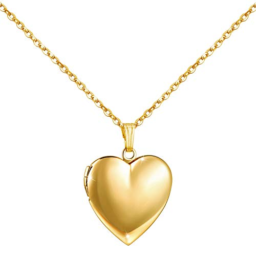 YOUFENG Love Heart Locket Necklace That Holds Pictures Polished Lockets Necklaces Birthday Gifts for Girls Boys (Heart Gold Locket) (Gold Picture Locket)