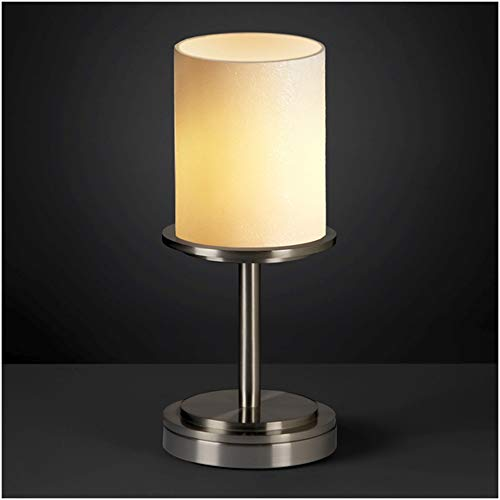 Justice Design Group CandleAria 1-Light Table Lamp - Brushed Nickel Finish with Cream Faux Candle Resin Shade