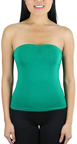 ToBeInStyle Women's Straight Neckline Ruched Knit Tube Top - Deep Kelly Green - S ()
