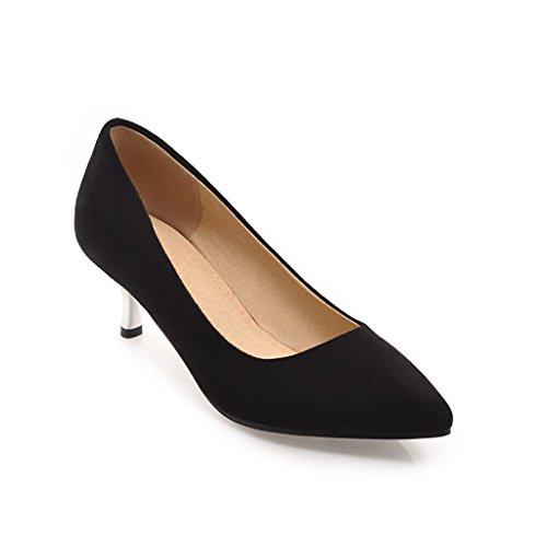 Plush Metal Sharp DYF Black Size Solid Large Color 40 Heel High Women's Shoes Fnwqv4Uz
