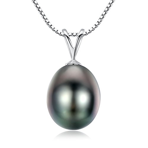 (VIKI LYNN 9-10mm Tahitian Cultured Pearl Drop Necklace 18K Gold Pearl Jewelry for Women)