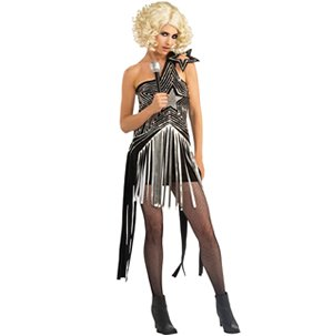 Wig, microphone, fishnet stockings and shoes not i (Lady Gaga Costume Halloween)