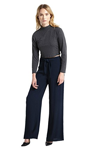 Women's Front Tie Wide Leg Flare Palazzo High Waist Textured Pants Navy S Textured Flare Pants