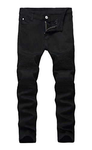 Kihatwin Big Boy Fashion Biker Moto Ripped Distressed Skinny Slim Fit Jeans Black Size 14