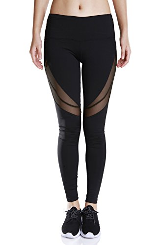 Fengtre Women Active Workout High-Waist Yoga Pant,Mesh Stretchy Capri Leggings,Black