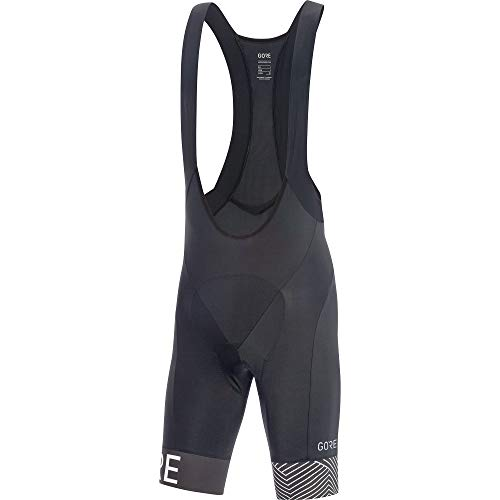 GORE Wear C5 Men's Short Cycling Bib Shorts With Seat Insert, L, Black/White
