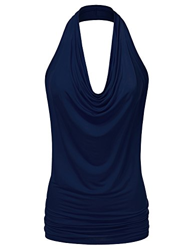 NINEXIS Women's Halter Neck Draped Front Open Back Top Navy (Draped Neck Halter Top)