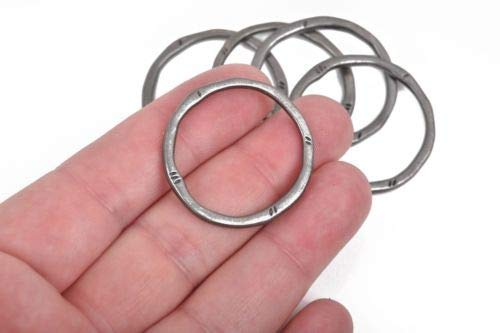 5 Gunmetal Hammered Rings, Circle Washer Connector Links, Black 32mm cho0210