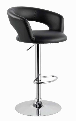 Neos Modern Furniture Contemporary PU Barstool with TUV Gas Lift, Black, 42 x 19 x 28
