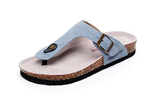 Leather Cork Clogs (Asifn Women's Sandal Cork Sandals Slide Flat Strap Buckle Girl Leather Footbed Adjustable Casual Double Toe Shoes Summer Open Platform Suede Slides Blue(8.5 US Men/9 US Women,25.5 cm Heel to Toe)