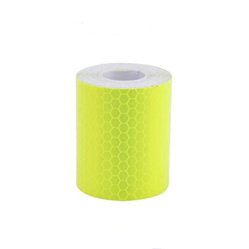 "WSERE Reflective Warning Tape Sticker, High Visibility Safety Honeycomb Conspicuity Tapes Multicolor, 1.97"" × 118.11"" (Fluorescein)"