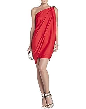 BCBG MAXAZRIA red berry Atla One-Shoulder Draped Dress