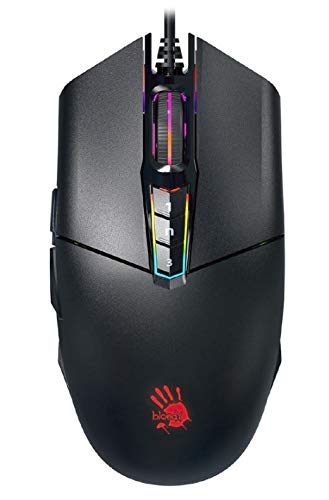 Bloody P91 Pro Esports Grade 16000 CPI Customizable RGB Gaming Mouse, Infrared Wheel, 6 Weapon Modes of Left Key, Invincible 4 Core, PixArt PMW3389 Gaming Engine, Texturized Rubber Grips