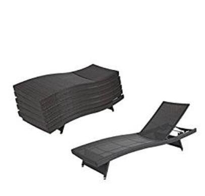 PE Rattan Wicker Patio Chaise Lounge Chair … (8PCS) For Sale