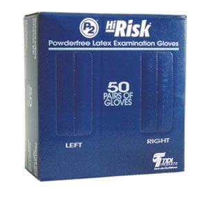 Exam Gloves, Latex, Powder Free (PF), Medium, Blue, 12''L Beaded Cuff, 18 Mils, 50 pr/bx, 10 bx/cs by Tidi Products, LLC (Image #1)