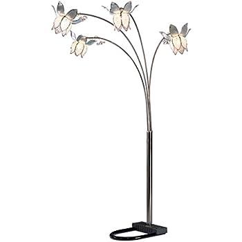 OK Lighting OK 9730C Crystal Tulip Floral 4 Arch Floor Lamp, 86