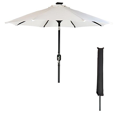 Trademark Innovations 7' Solar LED Patio Umbrella with Black Umbrella Cover by (White) - White Patio Umbrella