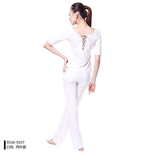 Yoga traje Fitness Invierno Palo Qsheulx Secado Rápido Sujetador m Blanco Camisa Blancas Son Recto Y Pantalones Femenino El En Con Wear Otoño RSwpq0g