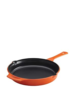 Rachael Ray Cast Iron 12-Inch Skillet with Helper Handle and 2 Pour Spouts, Orange