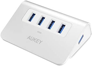 AUKEY USB Hub 3.0 Portable Aluminum 4 Port USB 3.0 Hub for Data Transfer with 3.3ft USB Cable for MacBook Air, Mac Mini, iMac, Laptop, PC, USB Flash Drives, HDD Hard Drive (Silver)