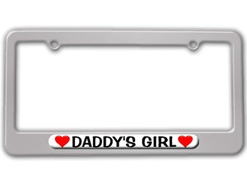 Daddy Color Child Frame (Daddy's Girl Love with Hearts License Plate Tag Frame - Color Silver)