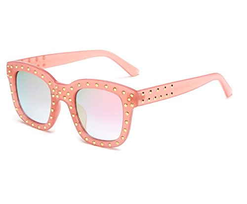 atmosphere Fancy diamond-encrusted glasses Avant-garde trend sunglasses,C5 red frame gray ()