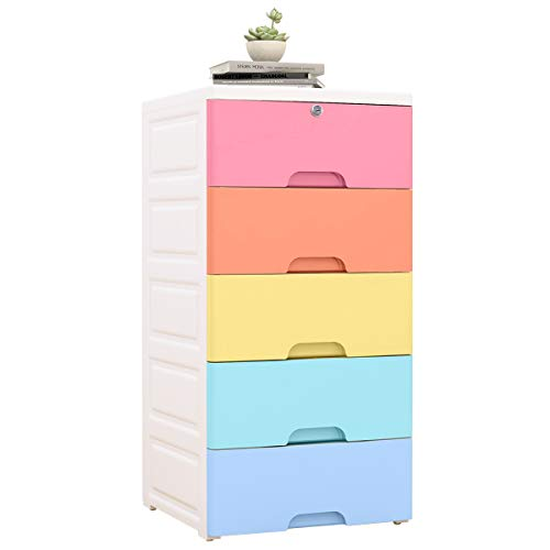 Nafenai Plastic 5 Drawers Dresser Storage Cabinet,Organizer Unit for Clothes,Toys,Bedroom,Playroom,Small,Colorful (Colorful Plastic Storage Drawers)