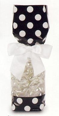 Black & White Polka Dots Tall Cello Favor Bag (3in. W x 10 3/4in. H x 1 7/8in. Deep) - pack of 25 ()