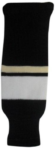 DoGree Hockey Pittsburgh Penguins Knit Hockey Socks, Black/Beige/White, Adult/32-Inch
