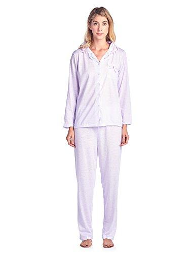 Casual Nights Women's Sleepwear Long Sleeve Pinstripe Pajama Set - Purple - (Stripe Long Lounger)