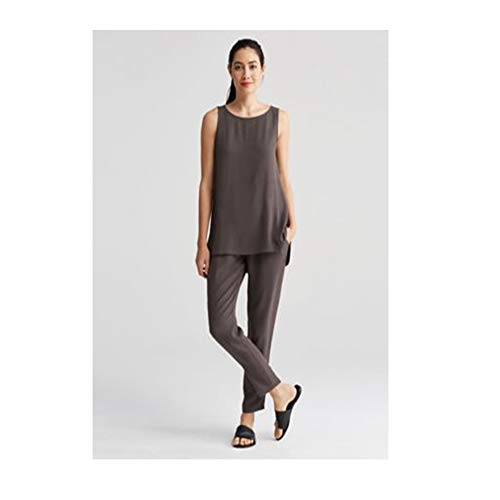 Eileen Fisher Cobblestone Silk Georgette Crepe Bateau Neck Long Shell XXS