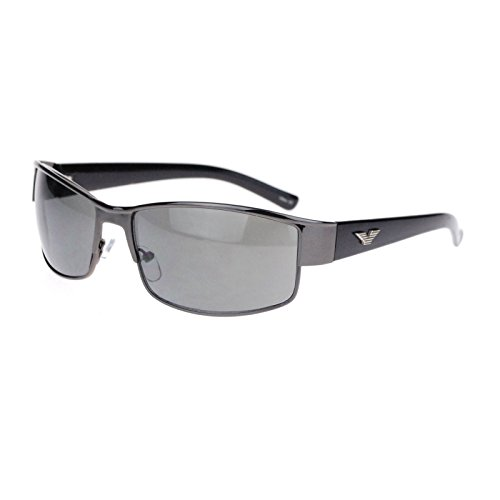 Mens Metal Designer Fashion Narrow Rectangular Luxury Agent Sunglasses Gunmetal - Fbi Sunglasses