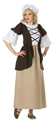 RG Costumes Women's Colonial Peasant Lady, Brown/Tan, 6-8/Medium -