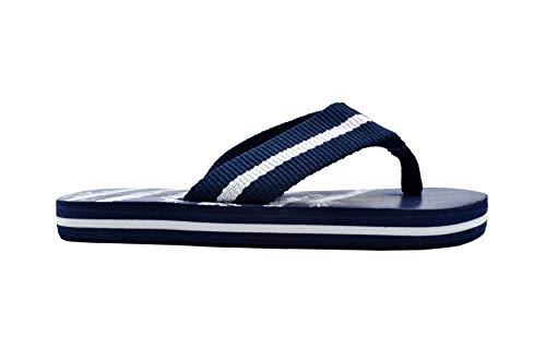 (Revo Boys Flip Flops 11-12 M US Little Kid Striped Thong Sandal with Printed Footbed Navy geo)