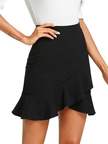 WDIRARA Women's Mid Waist Above Knee Asymmetrical Ruffle Hem Overlap Bodycon Skirt