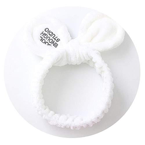 Victoria-show-headwear Women Cute Big Ears Comfortable Wash Face Bathe Hair Holder Elastic Headband,White -
