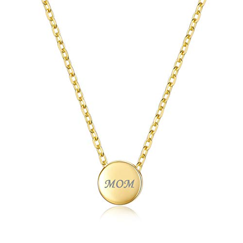 Personalized Dot Necklace Round Circle Pendant, 18K Gold Plated Plated Custom Couple/Lover Name Engravable Pendant Necklace for Women Girls