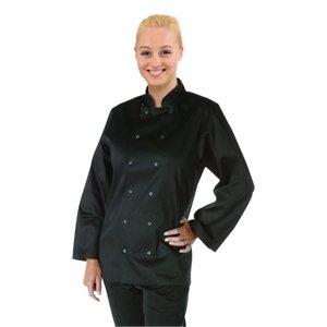 Vegas Long Sleeve Chefs Jacket - Black Polycotton. Size: XL (To fit chest 48-50).