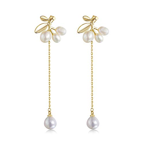 Geometric Matte Gold Earrings - Pearl Zircon Gold Plated And S925 Silver Needle Simple Dangle Earrings For Women, New Year Valentine Gift Fashion Boho Earrings (pearl)